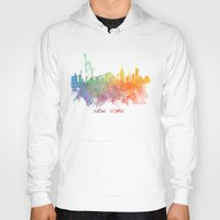 new york skyline Hoodies featuring Colored skyline New York by jbjart