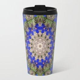 Peacock colors botanical kaleidoscope, mandala - Anagallis, Blue pimpernel flowers Travel Mug