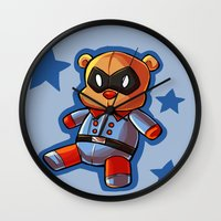 bucky Wall Clocks featuring bucky!bear by zombietonbo