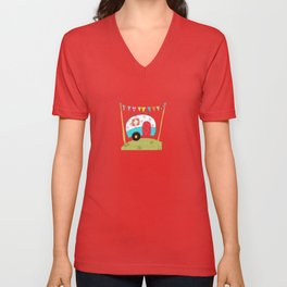 Travel Trailer - Happy Trails Ahead Unisex V-Neck