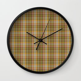 Olive - green checked pattern - country colours Wall Clock