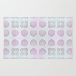 Abstract array of dots in cheerful pastels arranged in an infinitely repeating pattern. Rug