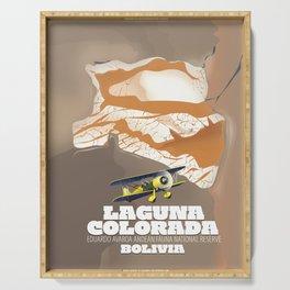 Laguna Colorada Bolivia beautiful salt lake travel poster. Serving Tray