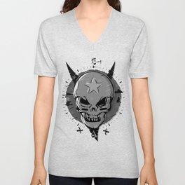 Skull black and white Unisex V-Neck