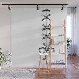 Laced Gray Ribbon on White Wall Mural