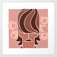 George & Piggies Art Print