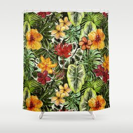Tropical Vintage Exotic Jungle Flower Flowers - Floral watercolor pattern Shower Curtain