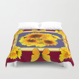 BUTTERFLY SUNFLOWER BOUQUETS BURGUNDY ART Duvet Cover