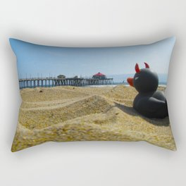 Devil Ducky goes to the beach - California Rectangular Pillow