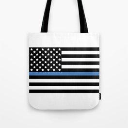 Blue Thin Flag Police Law Enforcement Flag Tote Bag