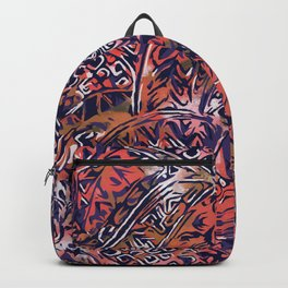 Blue Hawaiian Red Ancient Pattern Backpack