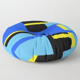 Rectangles - Blues, Yellow and Black Floor Pillow