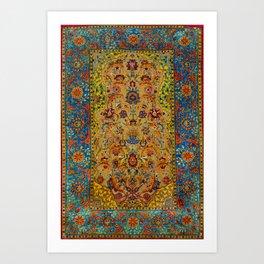 Hereke Vintage Persian Silk Rug Print Art Print