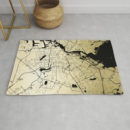 Amsterdam Gold on Black Street Map Rug