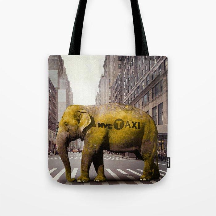 Elephant Taxi NYC Tote Bag