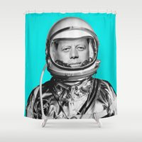 "jfk Shower Curtains featuring JFK ASTRONAUT (or ""All Systems Are JFK"") by Dan Levin's Objects of Curiosity"