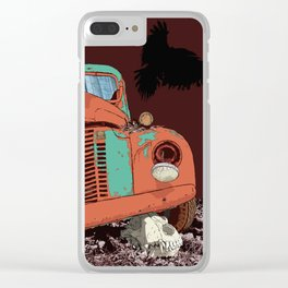 Art print: Old vintage car, the Raven and the Wolf skull Clear iPhone Case