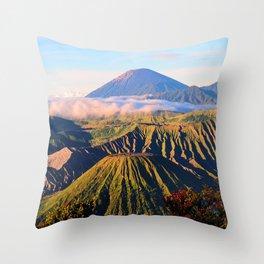 Mount Bromo morning fog volcano mountains Indonesia Throw Pillow