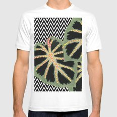 Chevron Black Mens Fitted Tee SMALL White