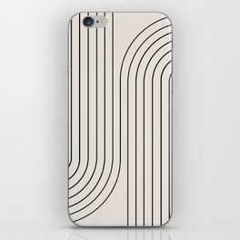 Minimal Line Curvature - Black and White I iPhone Skin