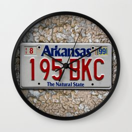 Arkansas License Plate over Crackling Paint Auto Tag Photograph Wall Clock