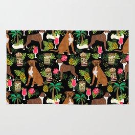 Boxer tiki tropical dog pattern modern pet friendly pet pattern dog breeds Rug