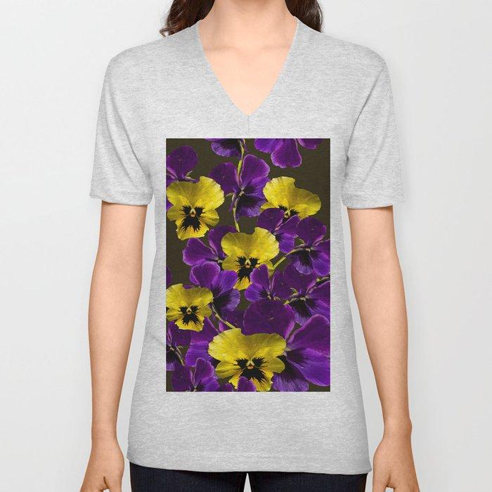 Purple And Yellow Flowers On A Dark Background #decor #buyart #society6 Unisex V-Neck