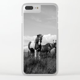 Black and White Horses in Iceland Clear iPhone Case