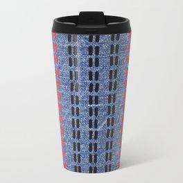 Digital Graphic Pattern Blue Denim Travel Mug