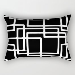 Interlocking White Squares Artistic Design Rectangular Pillow