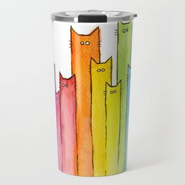 Cat Rainbow Watercolor Pattern Travel Mug