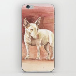BULL TERRIER and RAT Watercolor painting illustration Cute animal scene Dog portrait iPhone Skin