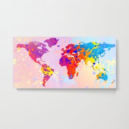 What a Colorful World Map Metal Print