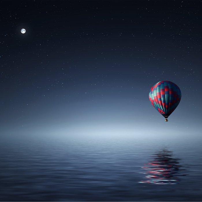 Hot Air Balloon Over Water Duvet Cover