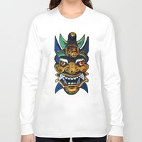chinese Long Sleeve T-shirts featuring Chinese Mask by Ron Trickett