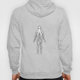 Alien Octopus Inside Human Body Drawing Black and White Hoody