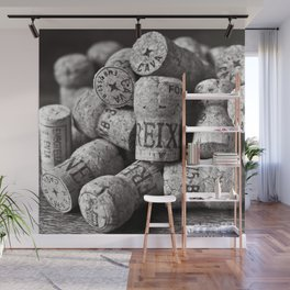 Cork of Champagne in Black and White Wall Mural