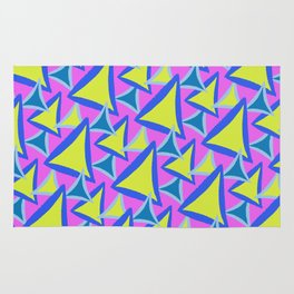 Neon Drawn Triangle Rug