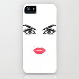 Printable Art,Makeup Face,Makeup Illustration,Lips Print,Eyelashes Print,Bathroom Decor,For Her iPhone Case