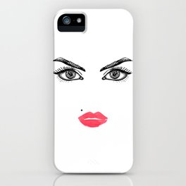 Printable Art,Makeup Face,Makeup Illustration,Lips Print,Eyelashes Print,Bathroom Decor,For Her iPhone Case
