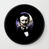 edgar allan poe Wall Clocks featuring Edgar Allan Poe by Rouble Rust