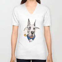 great dane V-neck T-shirts featuring Mr. Great Dane by dogooder