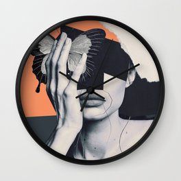 collage art / butterfly Wall Clock