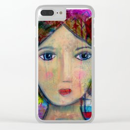 blue eyed girl Clear iPhone Case