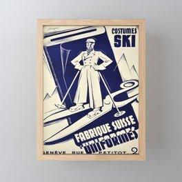 vintage placard fabrique suisse duniformes costumes Framed Mini Art Print