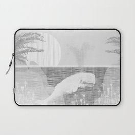 Tropical Black and White Vintage Whale Design Laptop Sleeve