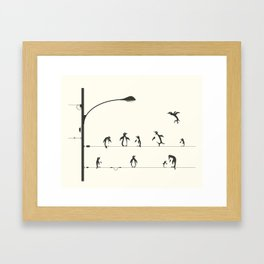 PENGUINS ON A WIRE Framed Art Print