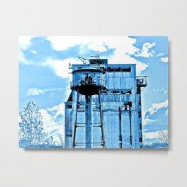 Old Factory in Blue Metal Print