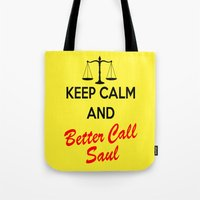 better call saul Tote Bags featuring Better Call Saul by DeBUM
