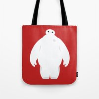 baymax Tote Bags featuring Baymax by Polvo